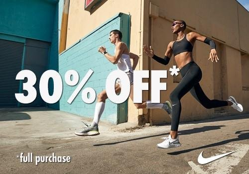 30% off on full purchase price at Nike